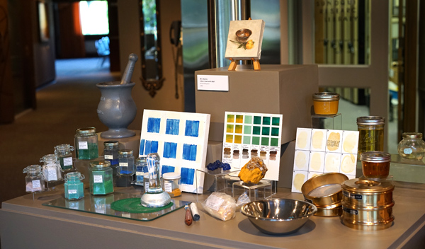 display showing some of my pigments and oils and the tools I use